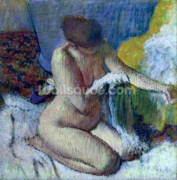 After the Bath, 1895 (pastel on mounted paper) wallpaper mural
