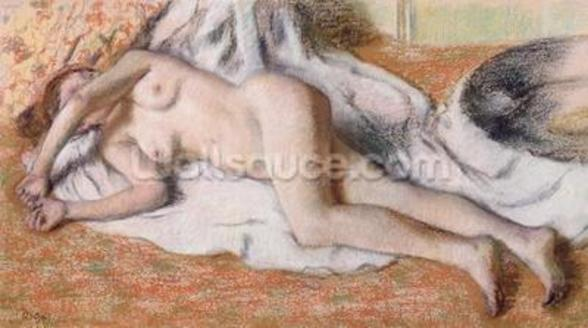After the Bath or, Reclining Nude, c.1885 (pastel on paper) wall mural