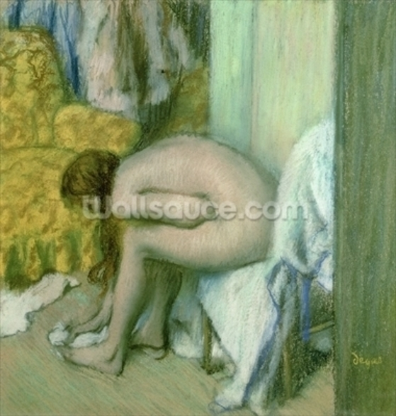 After the Bath, Woman Drying her Left Foot, 1886 (pastel on cardboard) mural wallpaper