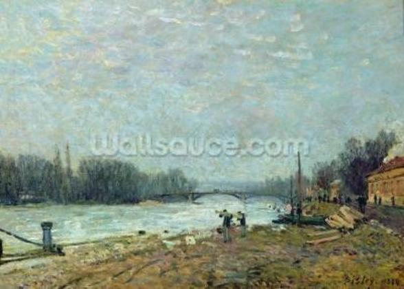After the Thaw, the Seine at Suresnes Bridge, 1880 (oil on canvas) wallpaper mural