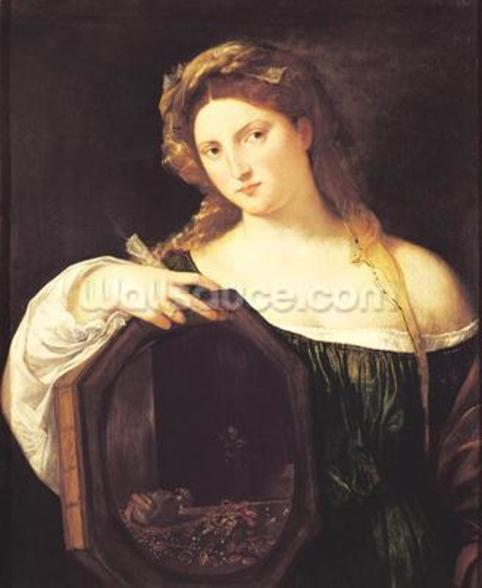 Allegory of Vanity, or Young Woman with a Mirror, c.1515 (oil on canvas) wall mural