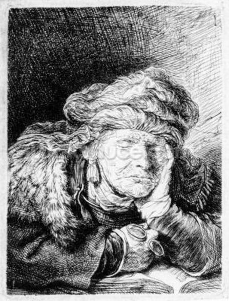 An Old Woman Sleeping, etched by Francesco Novelli, c.1790 (etching) wall mural