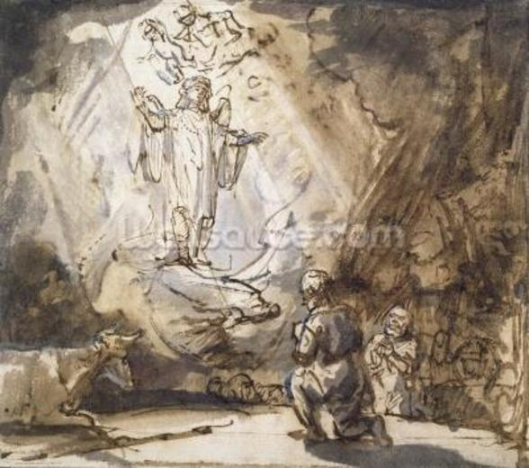 Annunciation to the Shepherds (pen and ink on paper) wall mural