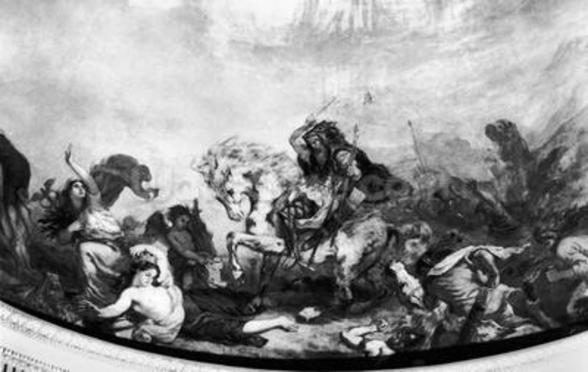 Attila the Hun (c.406-453) and his hordes overrunning Italy and the Arts, 1838-47 (mural) (b/w photo) wall mural