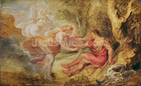 Aurora Abducting Cephalus, 1636 (oil on oak) mural wallpaper