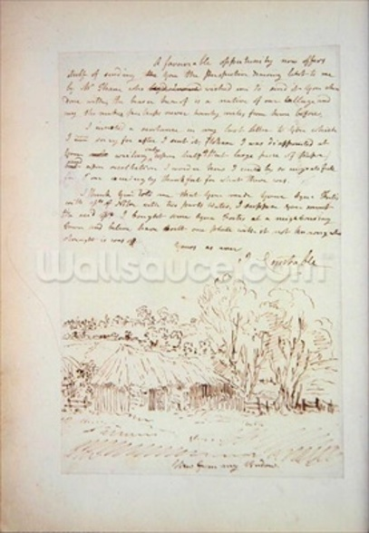 Autograph letter from John Constable to John Thomas Smith, from Memoirs of the Life of John Constable, by Charles Robert Leslie, printed by James Carpenter, 1843 (litho) mural wallpaper