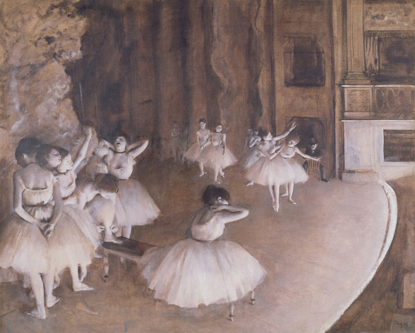 Ballet Rehearsal on the Stage, 1874 (oil on canvas) wall mural