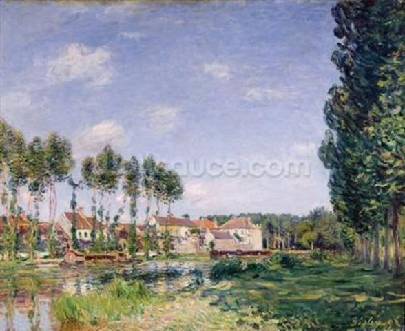 Banks of the Loing, Moret, 1892 (oil on canvas) wallpaper mural