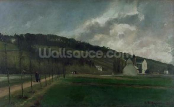 Banks of the river Marne in winter, 1866 (oil on canvas) mural wallpaper