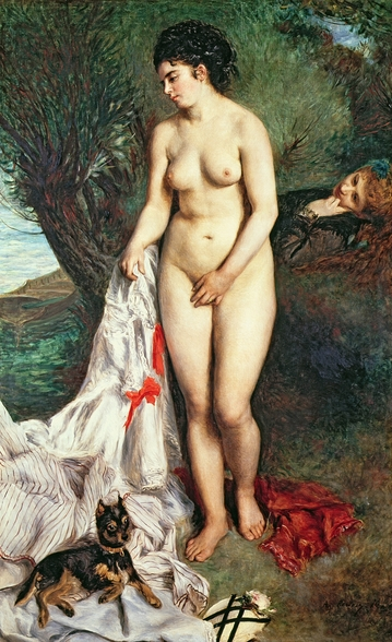 Bather with a Griffon dog, 1870 (oil on canvas) wall mural