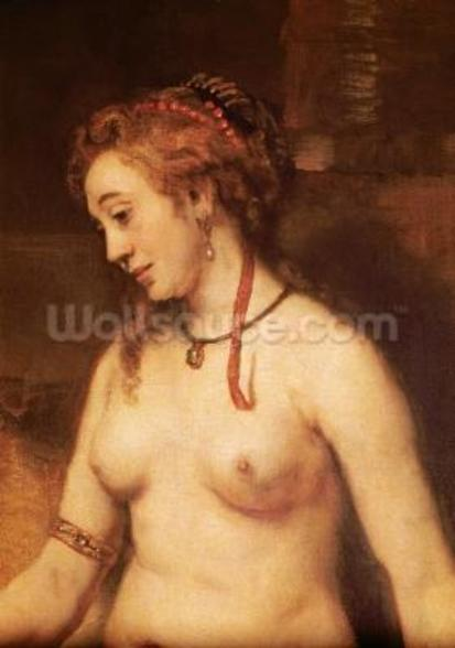 Bathsheba Bathing, 1654 (oil on canvas) (detail of 44593) mural wallpaper
