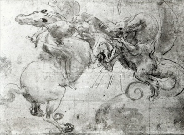 Battle between a Rider and a Dragon, c.1482 (stylus underdrawing, pen and brush on paper) mural wallpaper