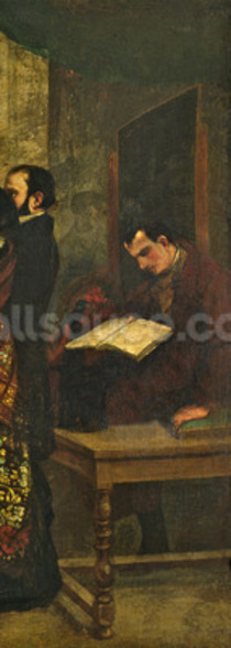 Baudelaire reading a book, detail from The Studio of the Painter, a Real Allegory, 1855 (oil on canvas) (detail of 19190) wall mural