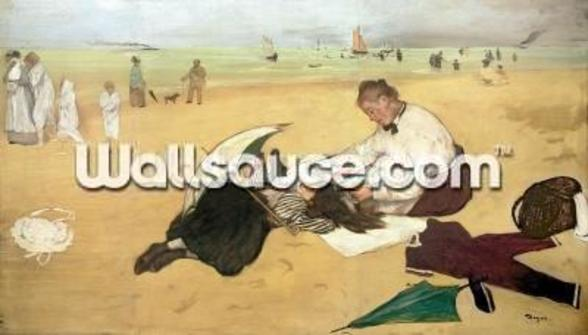 Beach scene: little girl having her hair combed by her nanny, c.1876-77 (oil on paper) mural wallpaper