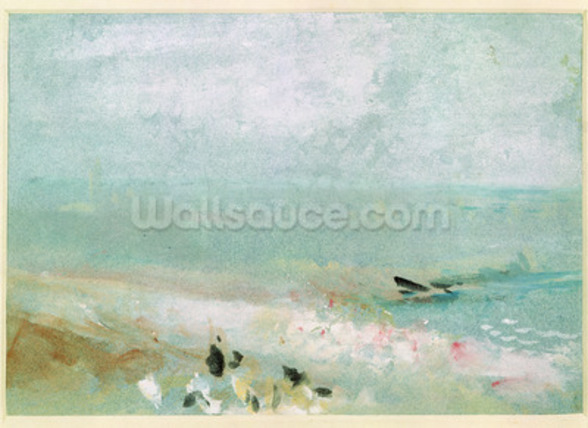 Beach with figures and a jetty. c.1830 (w/c & gouache) mural wallpaper