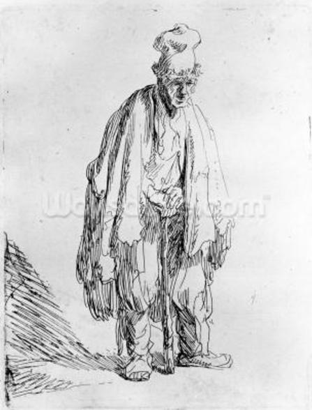 Beggar in a high cap, c.1630 (etching) wallpaper mural