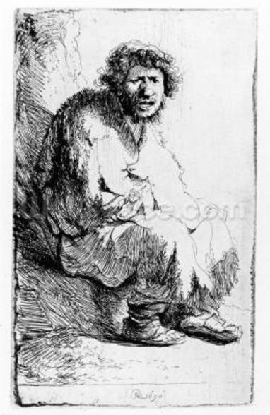 Beggar seated on a bank, 1630 (etching) wallpaper mural