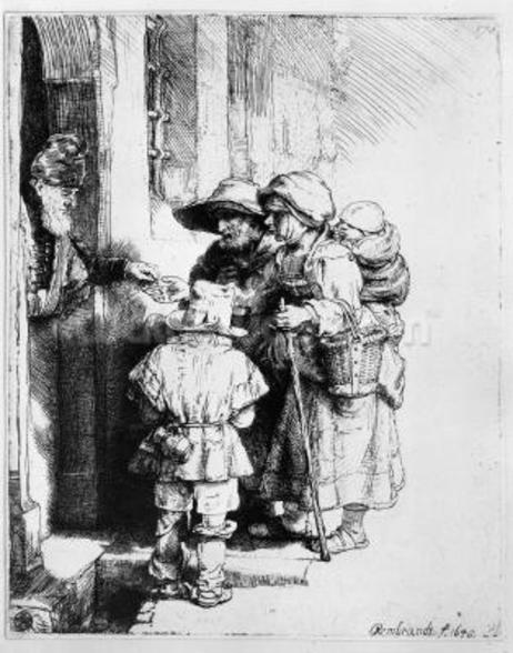Beggars receiving alms, 1648 (etching) wall mural