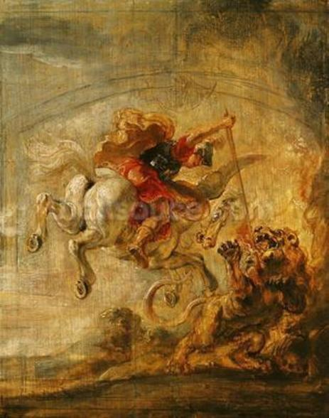 Bellerophon Riding Pegasus Fighting the Chimaera, 1635 (oil on panel) wall mural