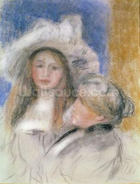 Berthe Morisot (1841-95) and her Daughter Julie Manet (1878-1966) (pastel on paper) wall mural