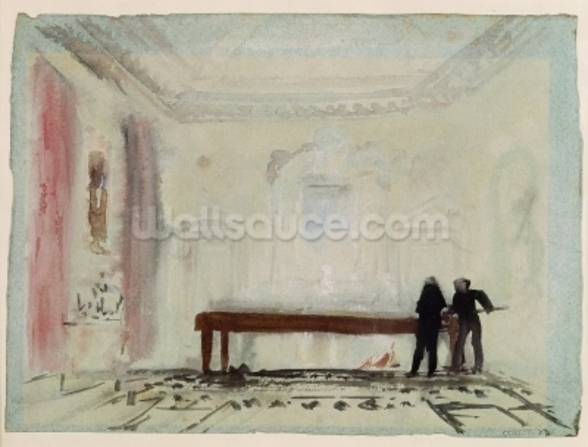 Billiard players at Petworth House, 1830 (gouache) wall mural