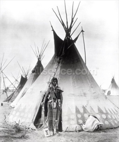 Blackfoot Brave, near Calgary, Alberta, 1889 (b/w photo) wallpaper mural