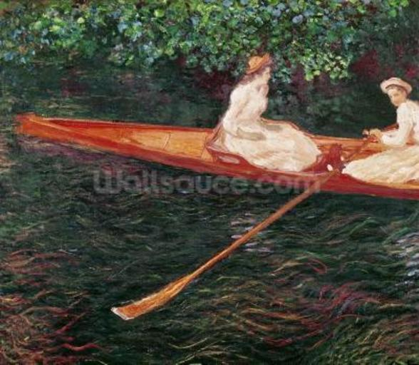 Boating on the river Epte, c.1889-1890 (oil on canvas) mural wallpaper