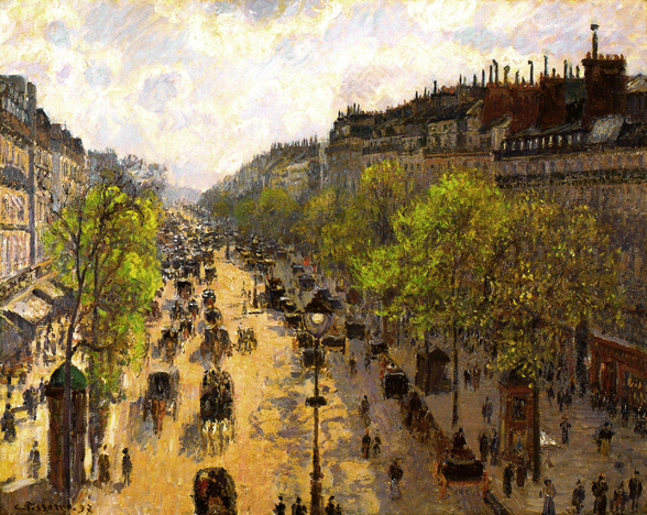 Boulevard Montmartre, Spring, 1897 (oil on canvas) mural wallpaper