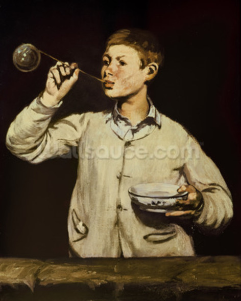 Boy Blowing Bubbles, 1867-69 (oil on canvas) wallpaper mural