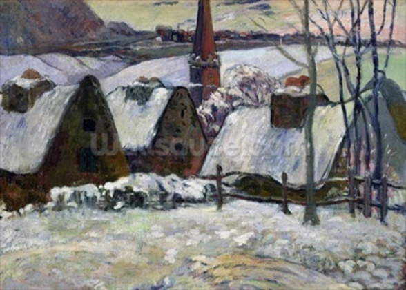 Breton village under snow, 1894 (oil on canvas) wallpaper mural