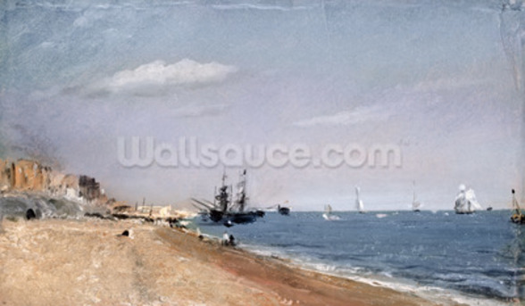 Brighton Beach with colliers, 1824 (oil on paper) wallpaper mural