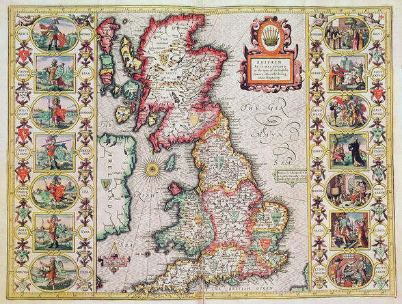 Britain As It Was Devided In The Tyme of the Englishe Saxons especially during their Heptarchy (hand coloured copper engraving) mural wallpaper