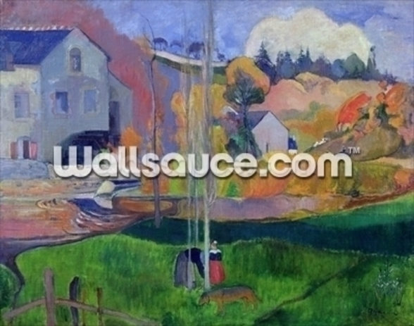 Brittany Landscape: the David Mill, 1894 (oil on canvas) wallpaper mural