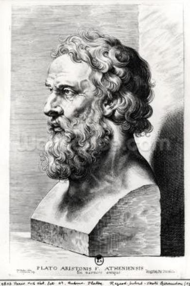 Bust of Plato (c.427-c.348 BC) engraved by Lucas Emil Vorsterman (1595-1675) (engraving) (b/w photo) mural wallpaper