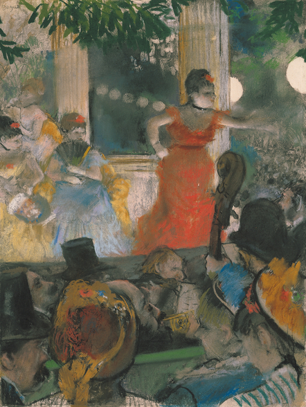 Cafe Concert at Les Ambassadeurs, 1876-77 (pastel on paper) wall mural