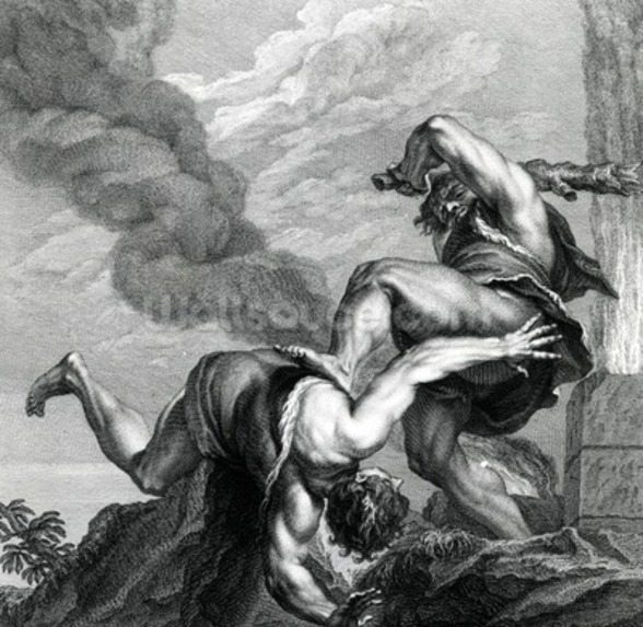 Cain slaying Abel, engraved by Johann Gottfried Seuter, c.1749 (etching) wall mural