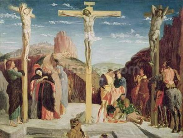 Calvary, after a painting by Andrea Mantegna (1431-1506) (oil on canvas) wallpaper mural