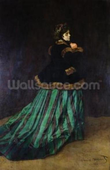 Camille, or The Woman in the Green Dress, 1866 (oil on canvas) mural wallpaper