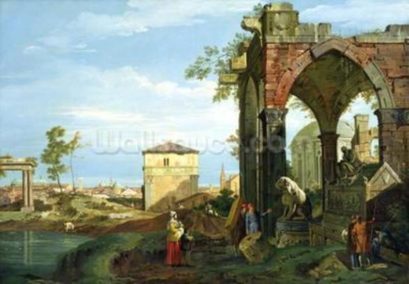 Capriccio with Motifs from Padua, c.1756 (oil on canvas) (see 153617 and 153618 for details) mural wallpaper