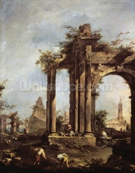 Capriccio with Roman Ruins, a Pyramid and Figures, 1760-70 (oil on canvas) wall mural