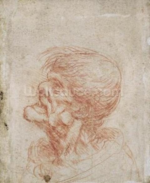 Caricature Head Study of an Old Man, c.1500-05 (red chalk on paper) wallpaper mural