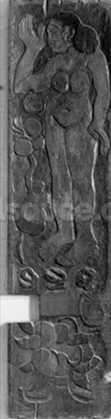Carved vertical panel from the door frame of Gauguins final residence in Atuona on Hiva Oa (Marquesas Islands), 1902 (sequoia) wall mural