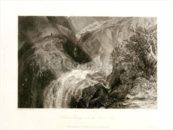 Chain Bridge over the River Tees, 1838 (etching & engraving) wallpaper mural
