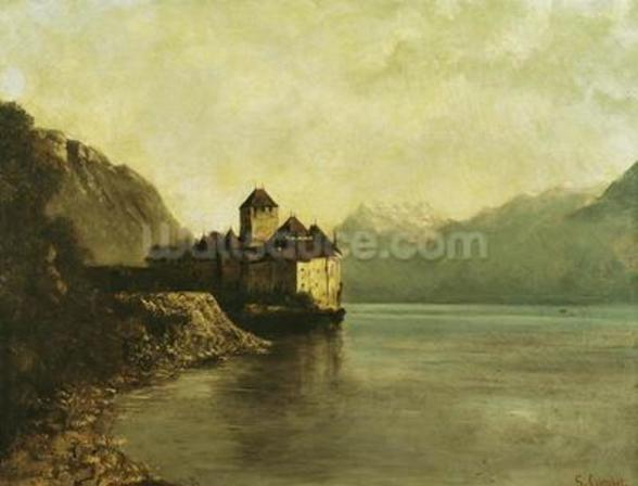 Chateau de Chillon, 1874 (oil on canvas) mural wallpaper