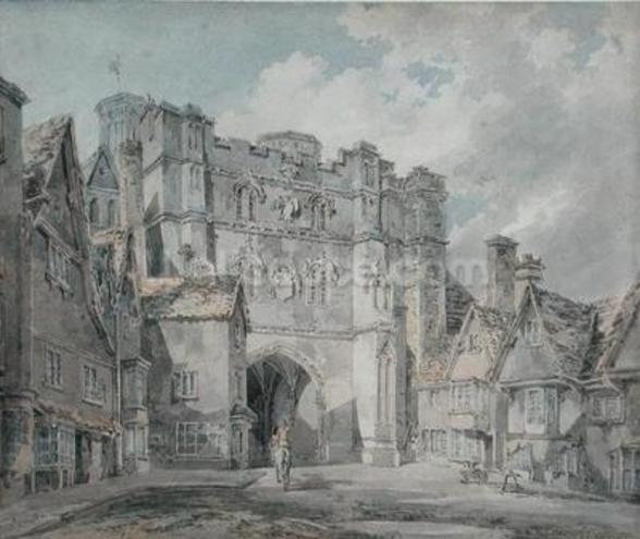 Christ Church Gate, Canterbury, 1793-94 (w/c on paper) wall mural
