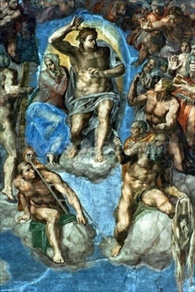 Christ, detail from The Last Judgement, in the Sistine Chapel, 16th century with self-portrait of Michelangelo as Saint Bartholomew holding flayed skin (fresco) wallpaper mural