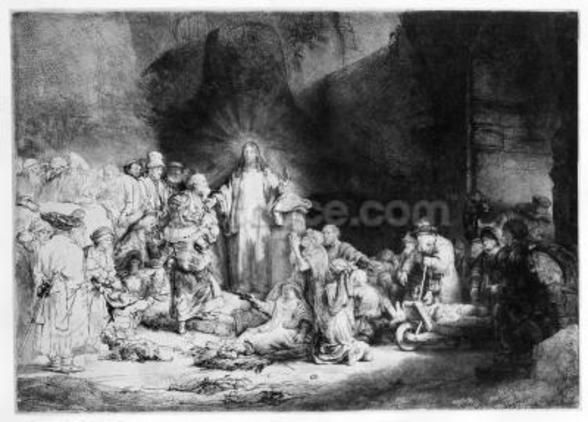 Christ preaching in a rocky landscape, c.1645 (etching) wallpaper mural