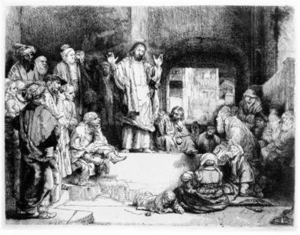 Christ preaching, c.1652 (etching) wall mural