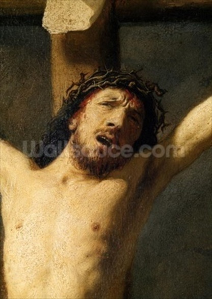 Christ on the Cross, detail of the head (oil on canvas) (detail of 154029) mural wallpaper