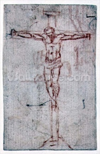 Christ on the Cross (red chalk on paper) wall mural